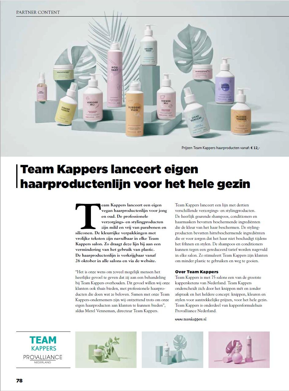 Artikel Top Hair_TeamKappers lanceert eigen haarproductenlijn